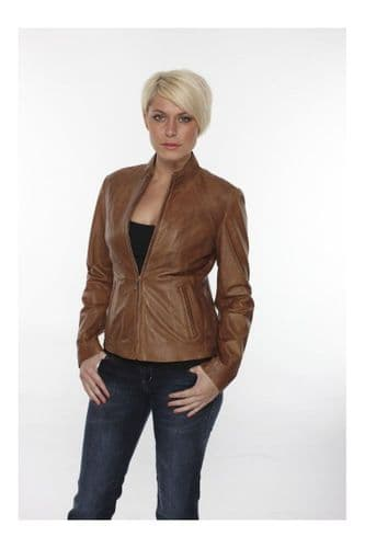 Women Leather Biker Jacket in Tan:DY